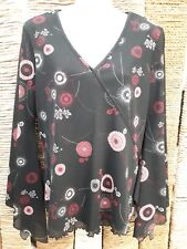 DOROTHY PERKINS Ladies Black Pink White Floral Long Flared Sleeve Top Size 10