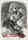 Winter Allegory King Winter In a Wolf-Drawn Dog Sled, Large 1840s Antique Print