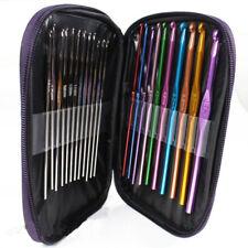 Crochet Hook Set Kit Yarn Knitting Needles Ergonomic Plastic Metal Supplies 22PC