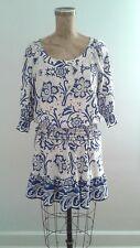 Boston Proper Silky Blue White Floral Tile Dress Ruffle Skirt Sz XS