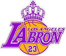 Lebron James LABRON LA LAKERS KING JAMES Yellow or Purple Car Sticker Decal