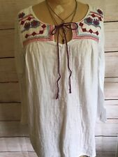 Gorgeous Boho Hippie XXL Tunic Style Shirt White With Red Blue Embroidery Ties