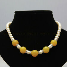 7-8mm white freshwater pearl +14mm yellow jade necklace 18 inches
