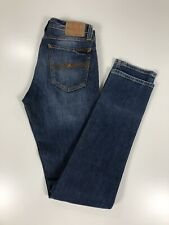 """Nudie Jeans SZ 28 Tube Kelly Skinny """"Broken Indigo"""" Wash Blue LONG! Inseam 34"""""""