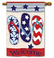 "Welcome Flip Flops Patriotic House Flag - 28"" x 40"" - 92698"