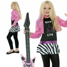 80s Girls Fancy Dress Costume Rock Diva Chick Kids Rockstar Outfit