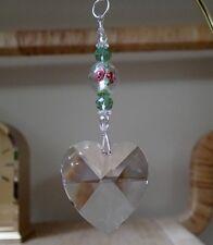 =^..^= Suncatcher made with 40mm Swarovski Heart Crystal Slvr Core w Green LOGO