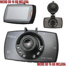 MINI CAMERA PER AUTO + SD 16 GB CAR CAM CORDER DASH CAM 2.7 LCD 1080p G SENSOR