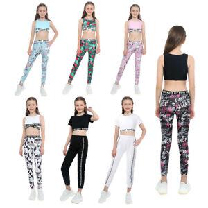Girls Sport Suit Round Neck Sleeveless Crop Top High Waist Pants Trousers Sets
