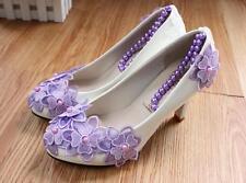 Decolté decolte scarpe donna ballerina bianco viola sposa 3.5, 4.5 8 11 cm 9337