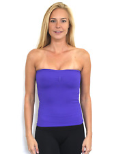 New Bebe Womens Seamless Stretchy Ribbed Strapless Tube Top Purple S-L $20