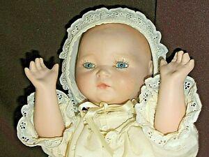 Baby Doll Blue Eyes Ceramic Head Arms Cloth Body CENTURY Alice 10 08 1992 Stamp