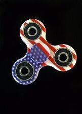 USA Hand Spinner Fidget EDC Tri Toy Camo American Flag Red White Blue Ninja Star