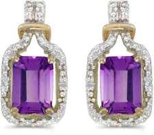 10 Quilates Oro Amarillo Corte Esmeralda Amatista & Diamante Pendientes