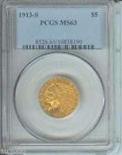 1913-S $5 INDIAN PCGS MS63 SCARCE DATE Premium Quality STUNNING & Rarely offered