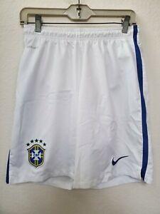 Nike Dri-Fit FIBA Brazil Soccer Shorts Men's Size M Preowned White Futbol