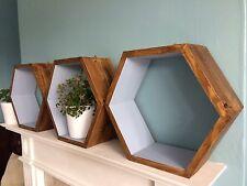 * 3 * hexagonal Estantes Hecho a Mano Scandi geométrica Pantalla Gris Arte Moderno Retro De Regalo