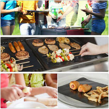 12PCS BBQ Grill Mat Reusable Non-Stick Barbecue Bake Meat + Brush Resistant
