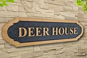 Personalised  Carved  Wooden Oak Custom Address Sign House Name Outdoor Plaque