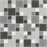 Naturstein Glasmosaik Marmor weiß grau Wand Fliesenspiegel  |10Matten|ES-54404_f