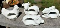 (4) NAPKIN RINGS SET Farm Animals PIG CHICKEN/HEN RABBIT COW Porcelain Japan Vtg