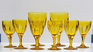 NEW ENGLAND GLASS COMPANY CANARY YELLOW Cut Blown Stem 1850's ~ Set of 8