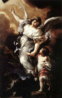 """Wonderful Oil painting the flying Angel with child - follow me handpainted 36"""""""