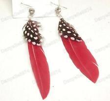 Pendientes de Plumas Cristal Boho Rojo Carmesí moteado Pájaro Plumas Diamantes de Imitación