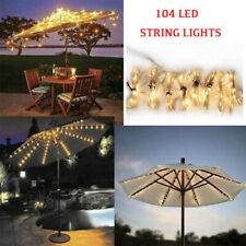 104 LED Outdoor Solar Garden Umbrella Lights Patio Sun Shade Beach Decoration