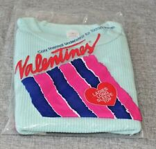 Vintage New Valentines Teal Cozy Thermal Long Sleeve Top Size Small