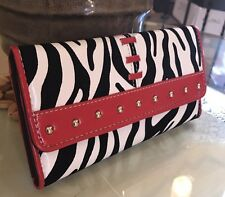 Designer Inspired Women's Gorgeous Faux Leather Zebra Print Wallet Red/ White