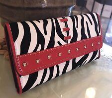 Designer Inspired Women's Gorgeous Faux Leather Zebra Print Wallet Red/ White