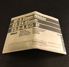 Nikon AF-S Zoom-Nikkor 24-85mm ED f/3.5-4.5G IF Camera Lens - Instruction Manual