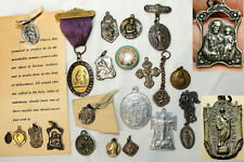 22 Vtg Religious Medal French Montmantre Our Lady of Olives St. Emyard Jude+ Lot