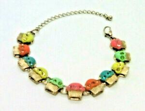 Delicate bracelet. various colour cupcakes. rhinestones, adjustable length chain