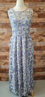 Monsoon Women's Lilac Flower Print Sleeveless Maxi Summer Dress UK 10