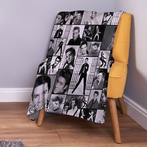Elvis Presley Montage B&W Soft Fleece Throw Blanket