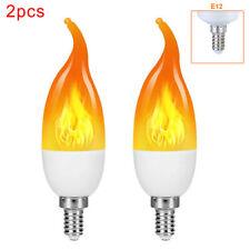 2x E12 светодиодные мигающие пламени свет свеча хвост эффект лампа 3 режимов огня лампа декор