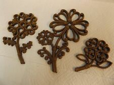 Vintage Homco (Home Interior) Wicker Flowers Wall Accent Plaques / Set of 3