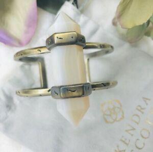 Kendra Scott 'Shelli' Agate Cuff Antiqued Gold Color Boho Bracelet
