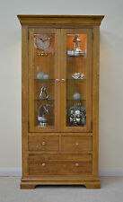 French Farmhouse Oak 2 Door Glass Display Cabinet c/w Storage Drawers & Lighting