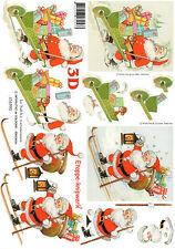 3D Motivbogen Etappenbogen Bilderbogen Grußkarte Weihnachtsmann auf Ski (288)