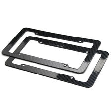 Black Carbon Fiber Style License Plate Frames For Front & Rear Bracket 2pcs Set
