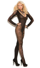 Long Sleeve Jacquard Bodystocking Crotchless V Neck Sheer Striped Black 8888