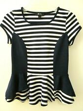 BCX Small Navy Blue White Striped Peplum Short Sleeve Top Shirt Tee Junior S