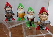 New listing Vtg 4 1981 Ceramic Hand Painted Garden Gnomes Lawn Statue Elf Fantasy Magic Cute