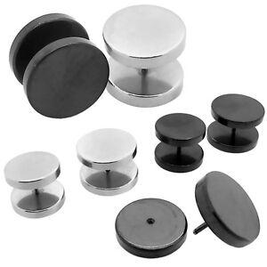 2x Fakeplugs Fake Tunnel Plug Piercing Black Silver Earring to Screw 16 18 mm