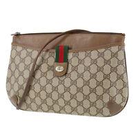 GUCCI GG Plus Web Stripe Shoulder Bag Brown PVC Leather Vintage Authentic #SS360