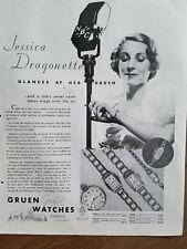 1934 Gruen gold watches Jessica dragon that NBC microphone ad