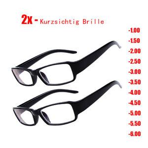 2x Kurzsichtig -1.0 to -6.0 Anti Blu-Ray Fernbrille Sehhilfe Damen/Herren Brille